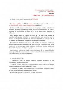 Formato petición Ciudadana parques